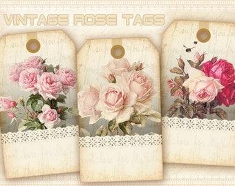 Vintage flowers Gift tags Printable Digital tags Digital collage sheet