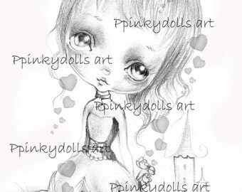 INSTANT DOWNLOAD Digital Digi Stamps..by Chrishanthi's art,Princess Pinky''