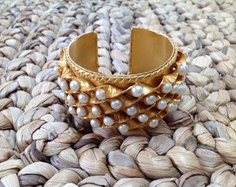 DOMINIQUE AURIENTIS Gold and Pearl Vintage Cuff Bracelet
