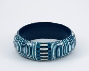BLACK FRIDAY Bracelet KIMONO - Blue - Purple - White engraved gold -