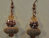 Antique Gold, Copper and Topaz color Swarovski Cryatal earrings