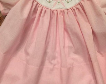 The Claire baby dress  Contrast yoke with Shadow Embroidered bow