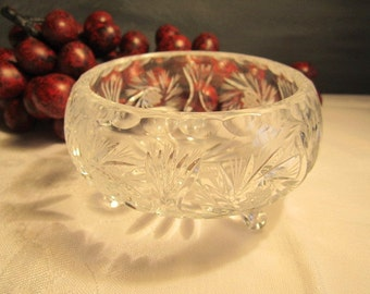 Pinwheel Bowl with 3 feet  Gift Idea Crystal Footed Dish
