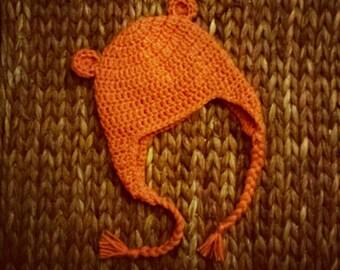 Orange Teddy Bear Earflap Crochet Hat
