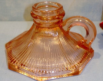 Pink Depression Glass Fine Ribbed Candlestick