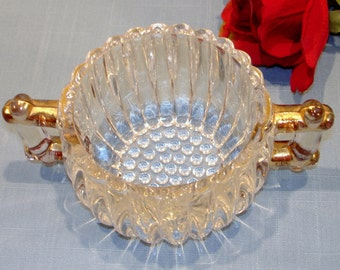 National by Jeannette Crystal Sugar Bowl, Gold Edge