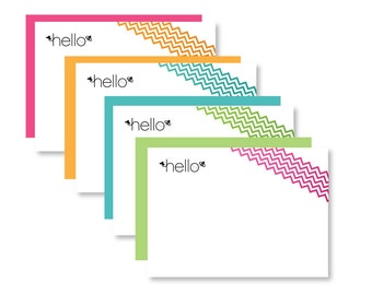 Assorted Hello Chevron Note Cards ~ Set of 12