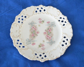 ON SALE  A Pretty Vintage Plate with Garlands of Pink Flowers and Lattice Work