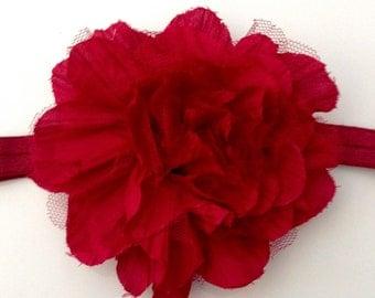Large Wine Color Fabric Flower Headband or Hair Clip, Baby Girl Flower Headband, Newborn Headband, Infant Flower Headband, Wedding Flower