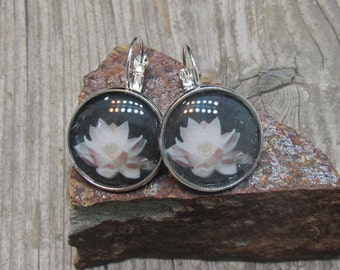 Lotus flower earrings gift ideas for her silver tone
