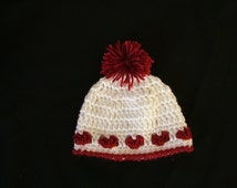 Crochet Baby Heart Hat for Valentines Day