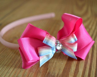 Adorable Hot Pink Bow Headband For Girls, Hot Pink Bow on Hard Headband, Girl Hair Accessories