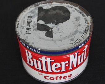 Vintage Red & White Butter-Nut 1 lb Coffee Tin LA Philadelphia