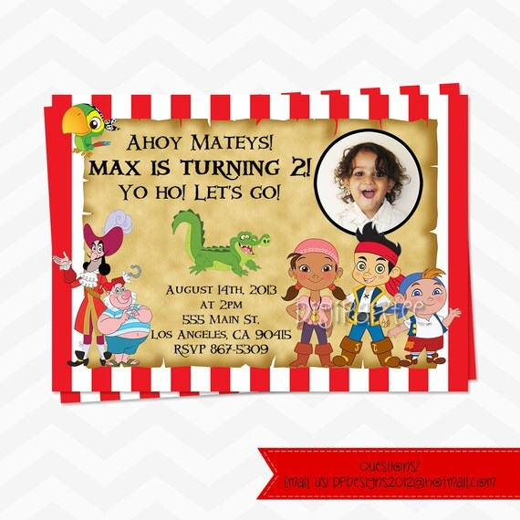 Jake And The Neverland Pirates Invitation - Boy Or Girl Colors