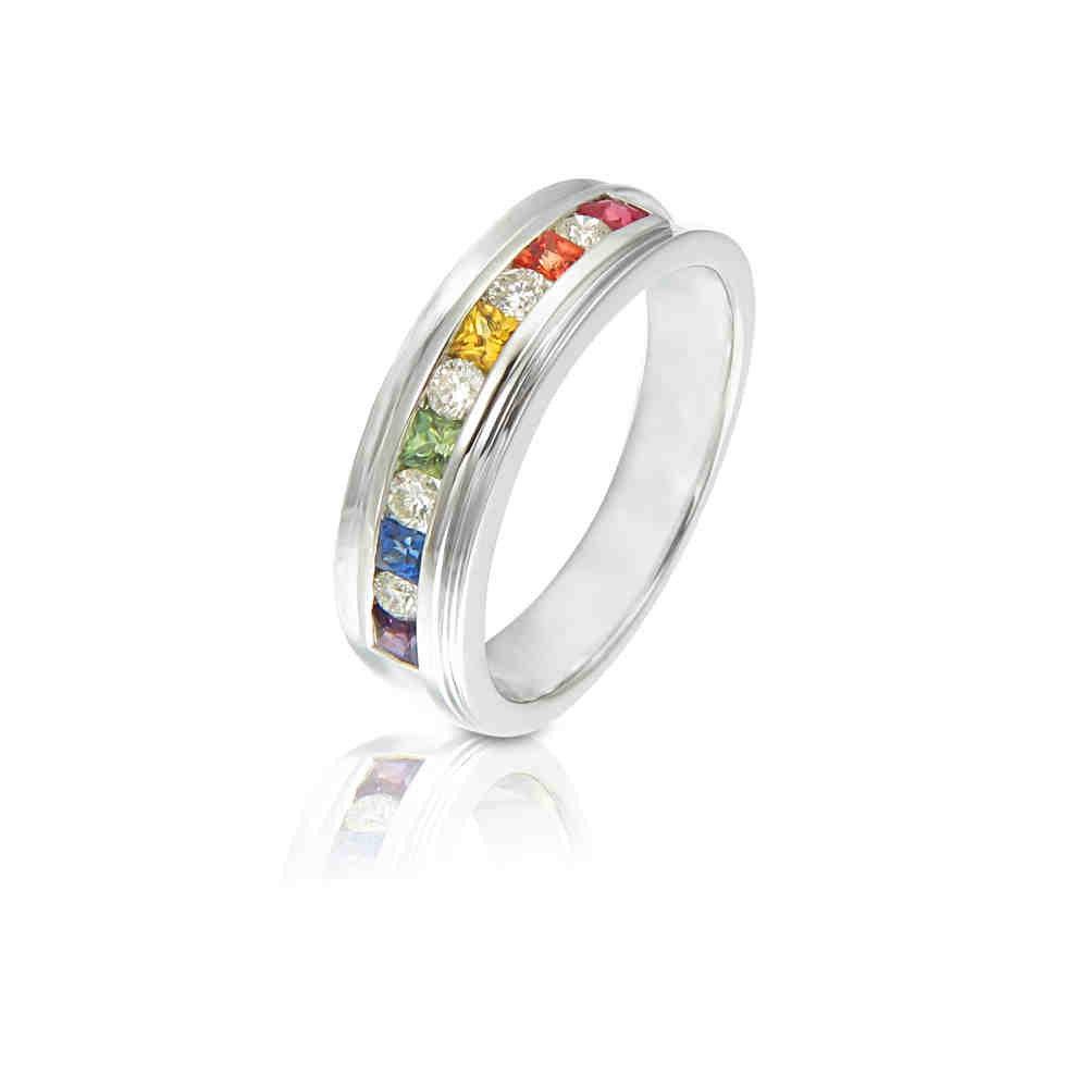 lgbt pride engagement ring wedding band 14k by equalli