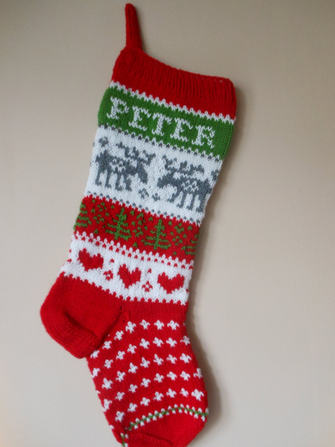 Knitting Pattern For Christmas Stocking Personalized : Personalized Christmas Stocking Hand Knitted With Reindeer