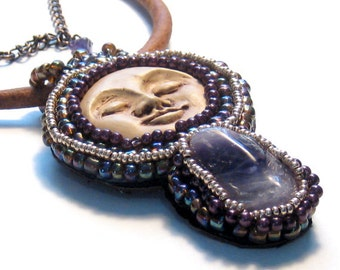 Amethyst Moon Beaded Pendant Leather Necklace