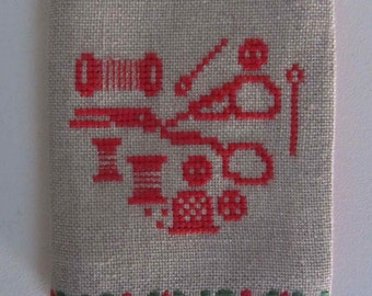 Needle book Handmade Red Cross stitch, Needle book in linen, Hand embroidery, Needlebook