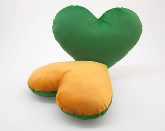 Green and Gold Team Spirit Hug Heart Shaped Pillow 12x14 inches