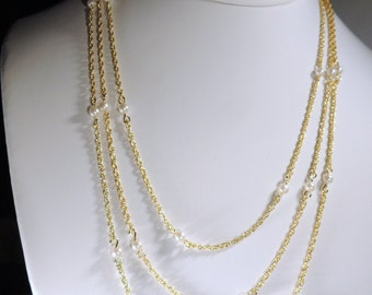 Three Tier Gold tone Chain and Pearl Necklace
