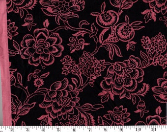 1 yard, JQ Bircham Amethyst (Pink Flowers on Black)