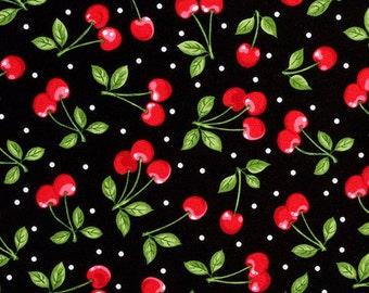 1 Yard, Cherries on Black Cotton Screen Print D6798