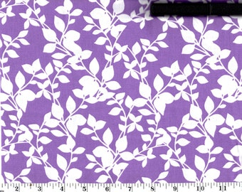 1 Yard, White Leaves and Branches on Purple