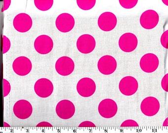 1 Yard, Large Pink Dots on White Cotton