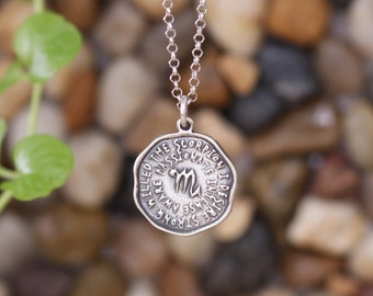 Scorpio keyword pendant of Astrology Zodiac Sign, Birthday gifts, Sterling Silver Chain Included.