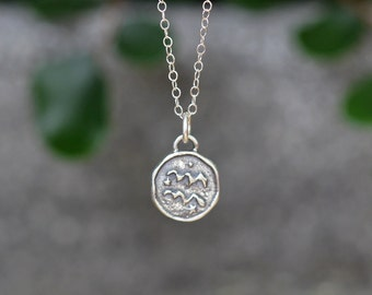 Aquarius Astrology Zodiac Sign Pendant, Birthday gifts, Zodiac Jewelry,Sterling Silver Chain Included.