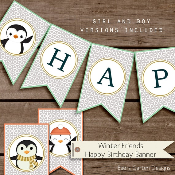 Items Similar To Winter Friends Happy Birthday Banner