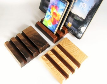 Three device solid wood ipad, iphone stand.  Oak, Black Walnut or Lace wood.
