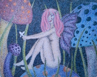 Fairy, 8 1/2 x 11  unmatted. Pagans, and those who love fairy art. Pointillism style.