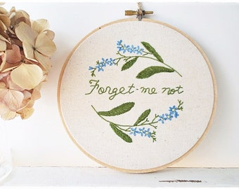 Wreath hand embroidery in hoop wall art Forget Me Not blue flower