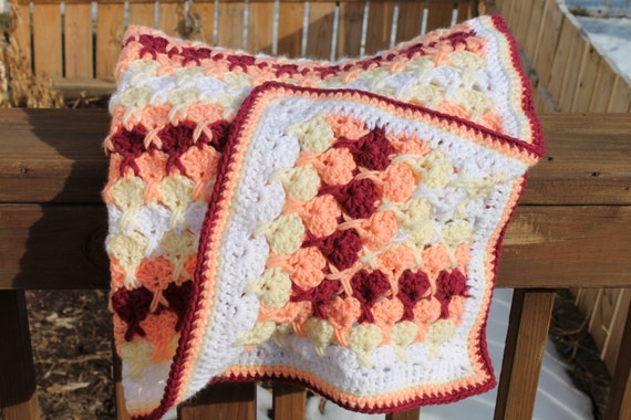 Hugs And Kisses Crochet Baby Blanket Pattern : Baby Blanket Afghan Red Orange Yellow White colors by ...