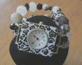 Cheetah Watch , Black Beaded Watch Band