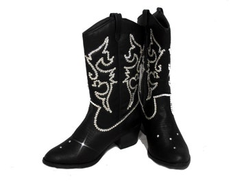 Black bling womens cowboy boots