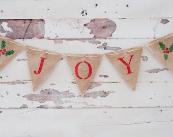 Joy Burlap Banner, Joy Banner, Holiday Banner, Christmas Garland, B022