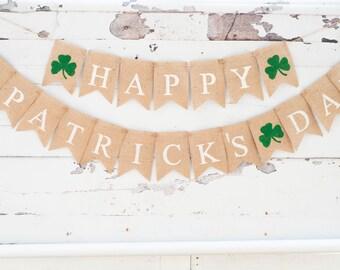 Happy St. Patrick's Day Burlap Banner, Happy St Paddy's Day Banner, Happy St. Patrick's Day Banner B062