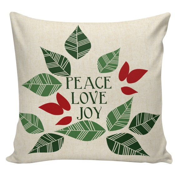 Scandinavian Christmas Pillow : Items similar to Holiday Pillow Cover Swedish Scandinavian Christmas Peace Love Joy Leaves ...