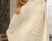 knitting pattern for afan throw blanket  aran yarn 96 x 126 cm