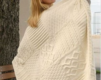 knitting pattern for afan throw blanket  aran yarn 96 x 126 cm