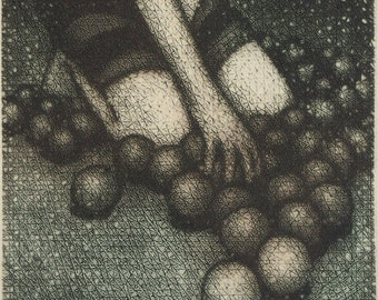 Garner - tiny unframed drypoint original intaglio print by Carrie Lingscheit