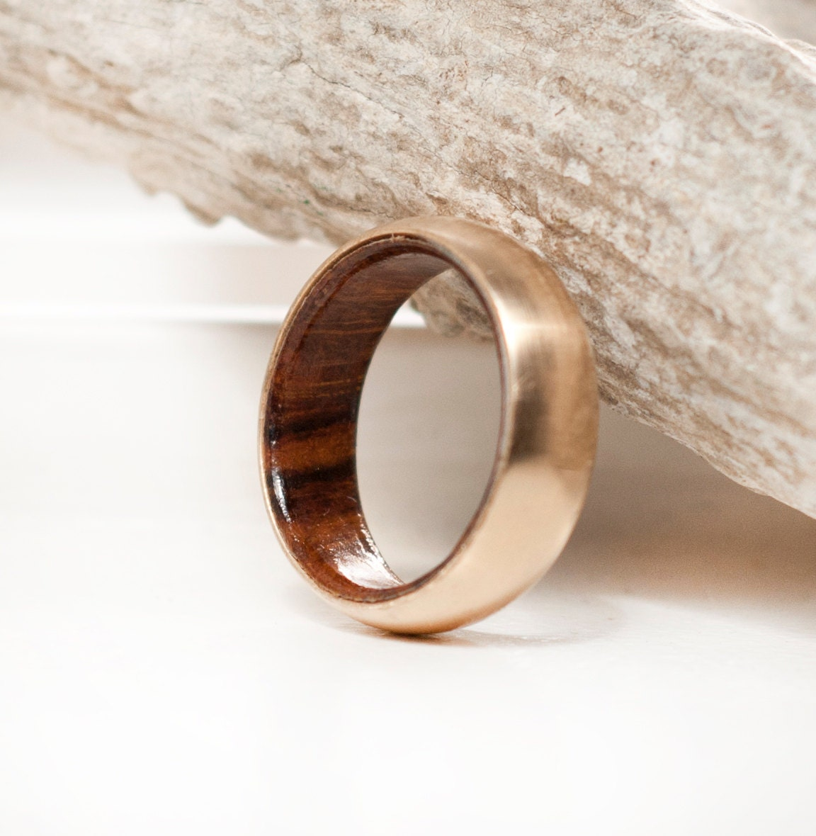 s wedding band 10k yellow gold wood lined ring