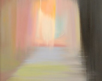 Abstract figurative painting of woman - Oil painting woman silhouette - Pastel canvas art by Yuri Pysar