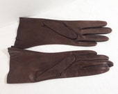 Vintage Ladies Dark Brown Gloves Size XS/Small Womens Winter Fashion Accessory