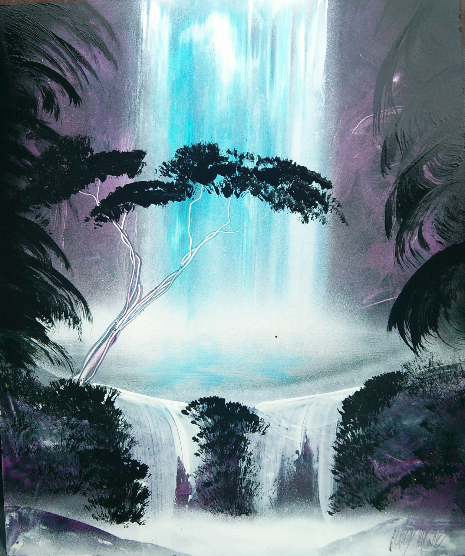 jungle waterfall spray paint art. Black Bedroom Furniture Sets. Home Design Ideas