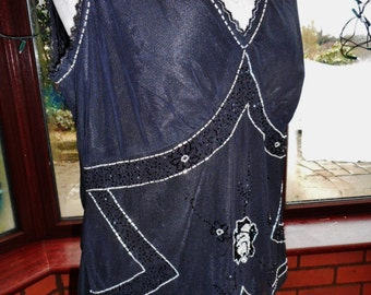 top all sequined in black and silver lined uk16 usa size 12 wedding or special occasion