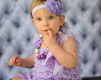Lavender Lace Romper Baby Girl Petti lace romper Newborn Romper baby Romper Ruffle romper 1st birthday infant romper lace romper