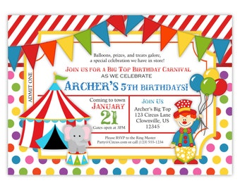 Carnival Circus Invitation - Red Stripe Polka Dot, Big Top Tent, Clown, Balloons Personalized Birthday Party Invite - Digital Printable File